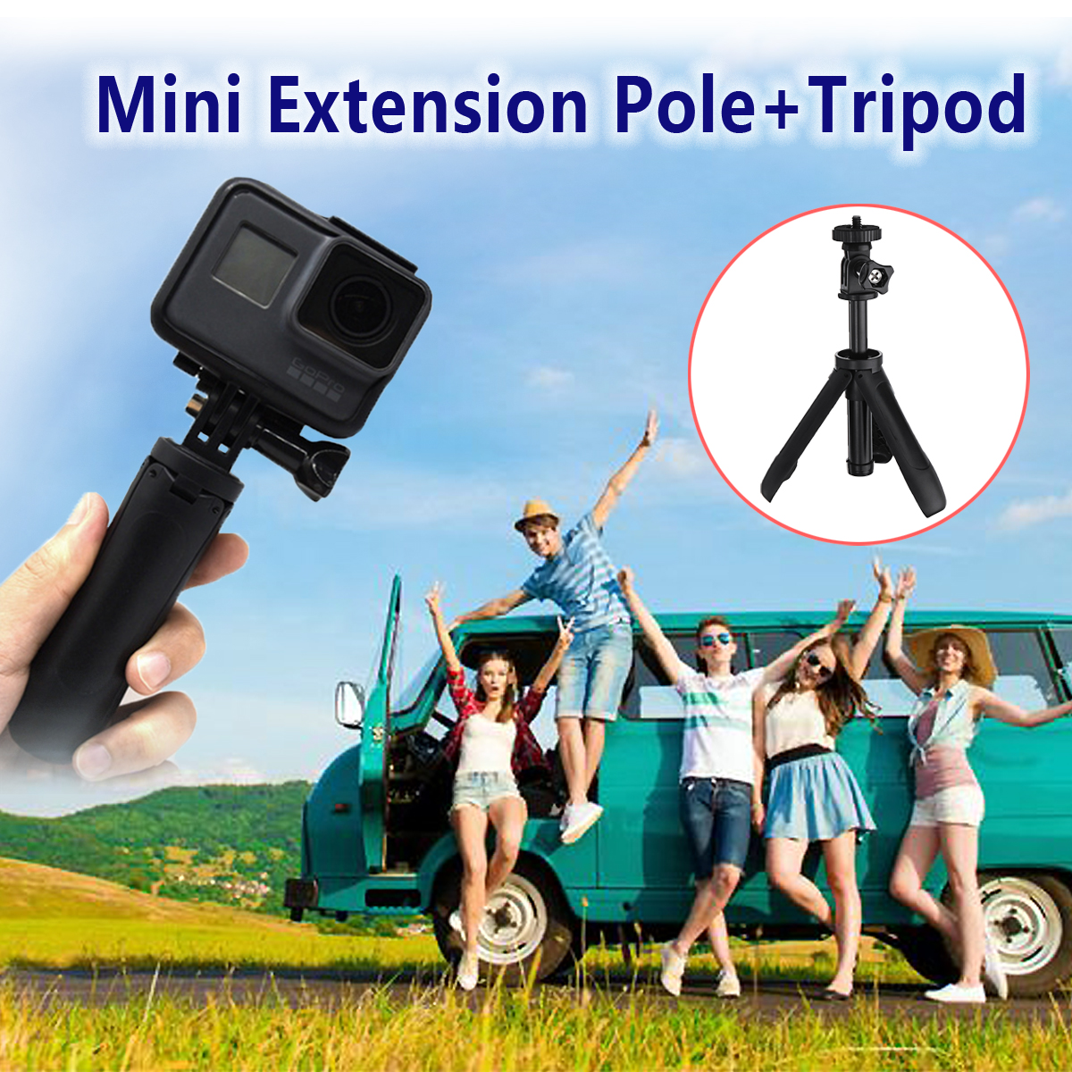 Mini Portable Tripods Shorty Handgrip Extension Pole Extendable Monopod Tripod Selfie Stick for iPhone for Gopro sports cameras sports camera gopro selfie extension stick 17 inch adjustable cnc aluminum extension magic arm mount kit for dslr lcd monitor