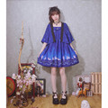 2016 New Angel Sky Stars Sakura  Printed Soft sister Girly girl Vintage Lolita Japan Kimono styles Dress Sweet Women Two Pcs Set