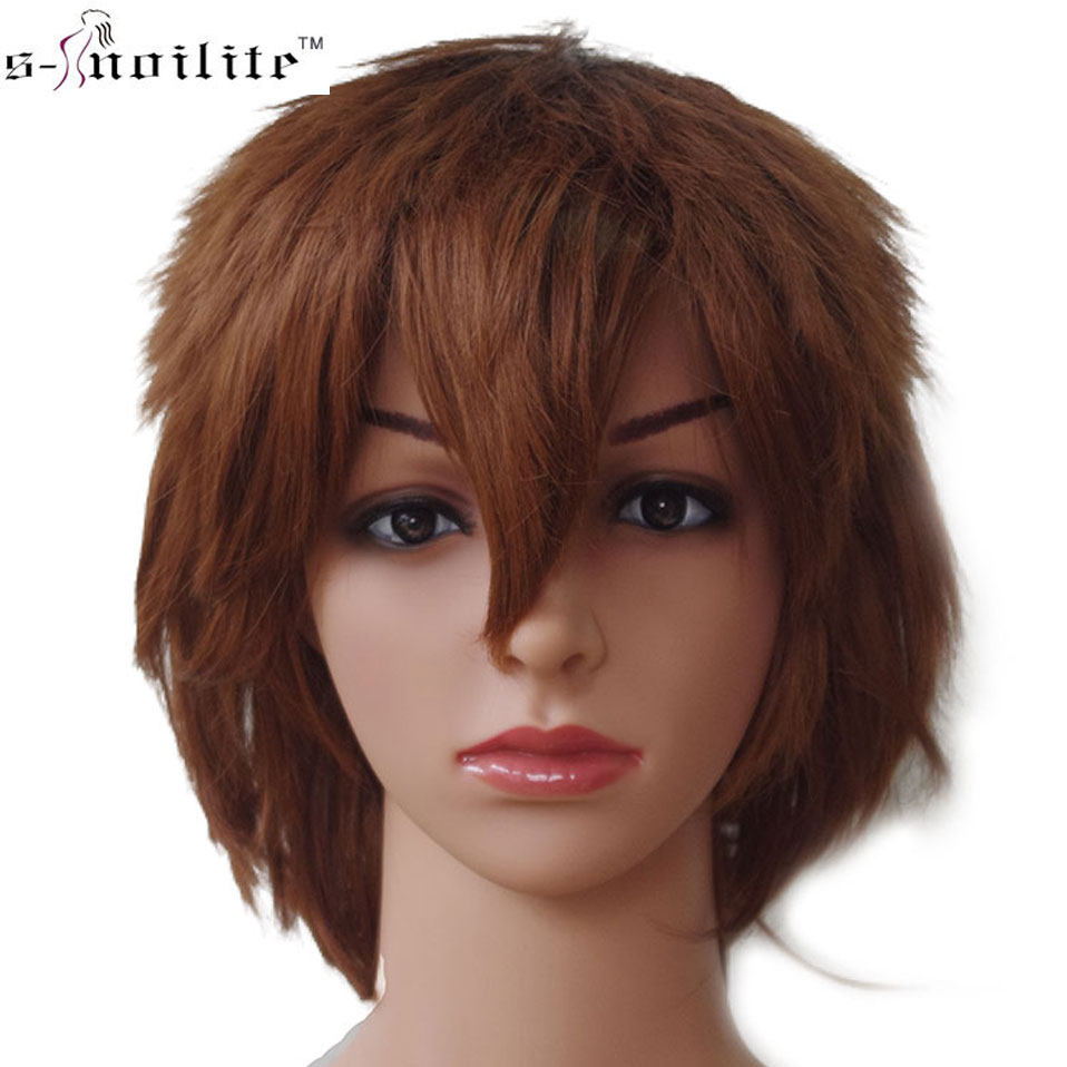 SNOILITE 30CM Cosplay Wig Red Pink Blue Brown White Grey Wig Synthetic Short Straight Costume Wig For Christmas Party