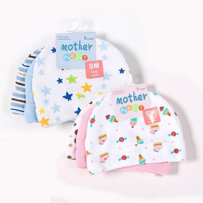 ᗑ3 unids/lote sombreros del algodón del bebé rosa/azul estrella ...