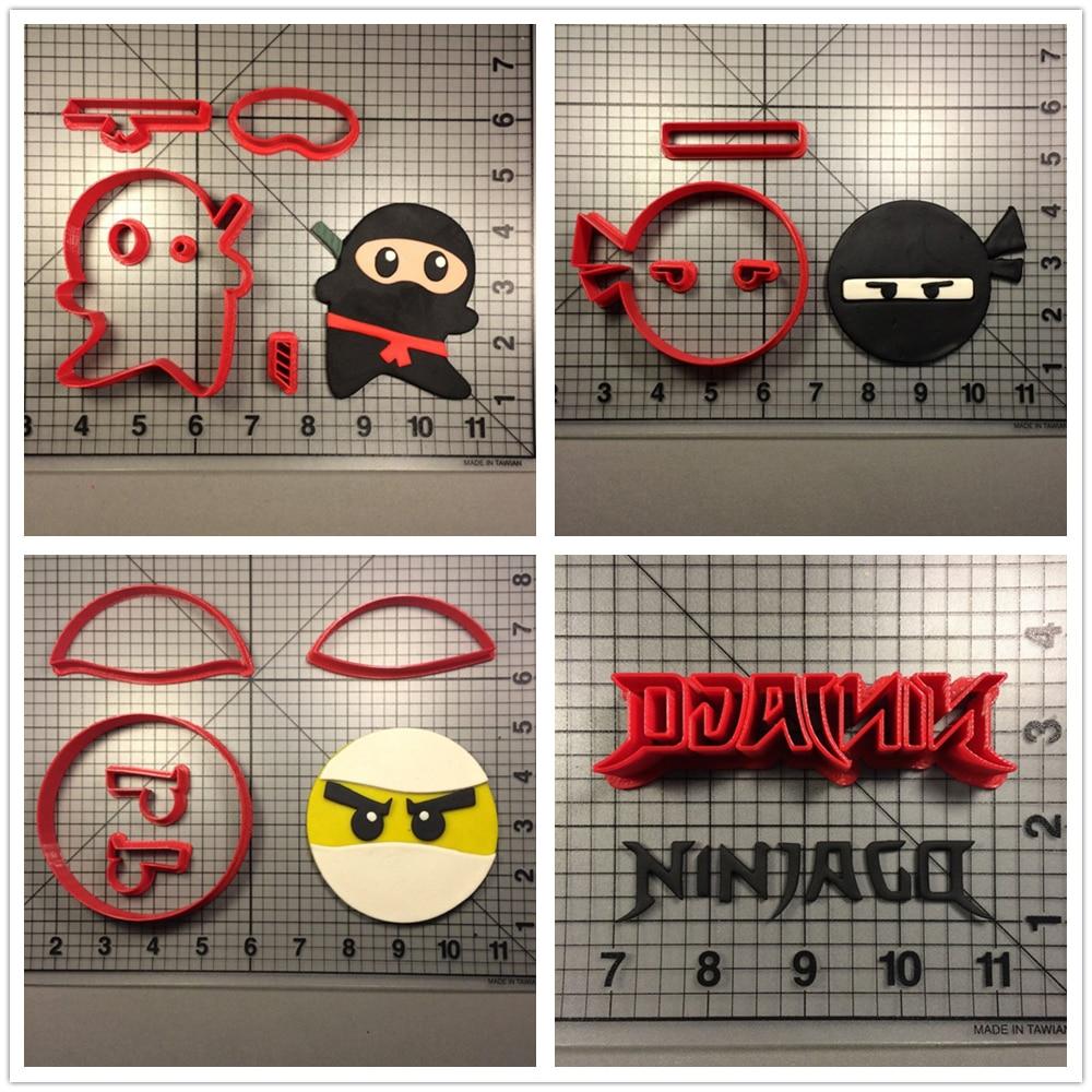 Famous Game Ninjago Character Cookie Cutter Cake Decorating Tool Custom Made 3D Printed Fondant Cupcake Top Mould Ninja Set