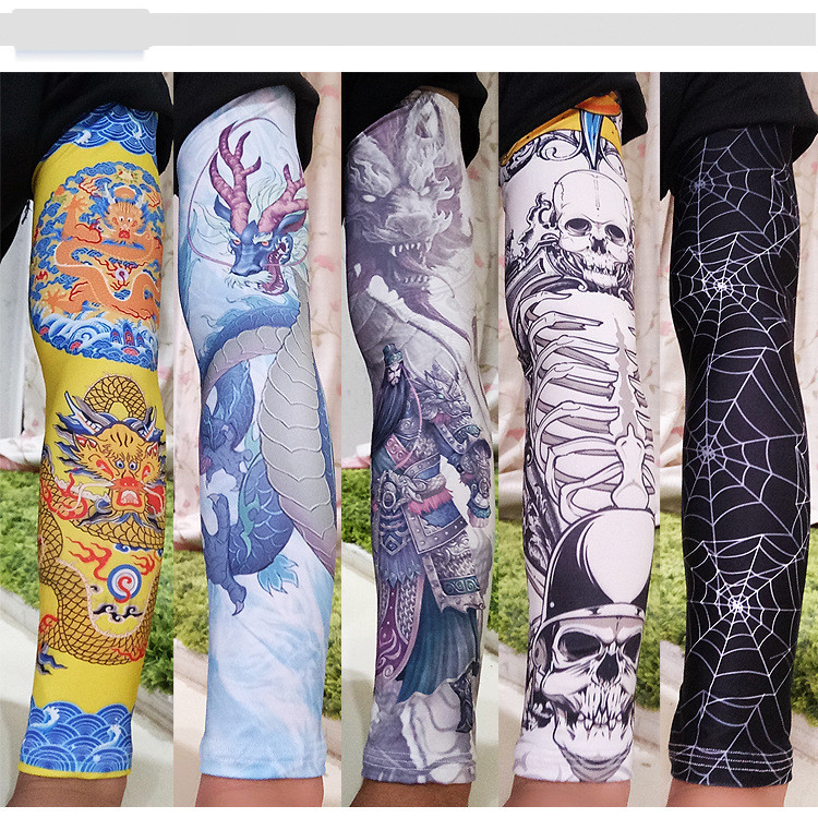 Ice Silk Sunscreen Sleeve Outdoor Riding Flower Arm Tattoo Tattoo Men And Women Arm Sleeves Fishing Sleeve-2