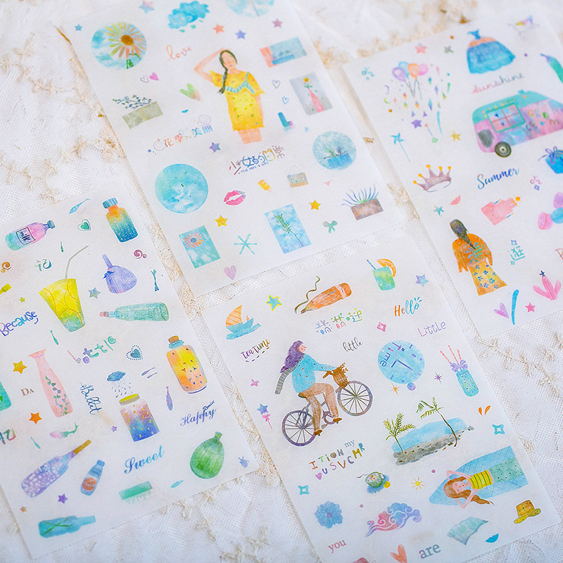 4 Sheets/pack Summer Scenery Decorative Stationery Stickers Scrapbooking Diy Diary Album Stick Label