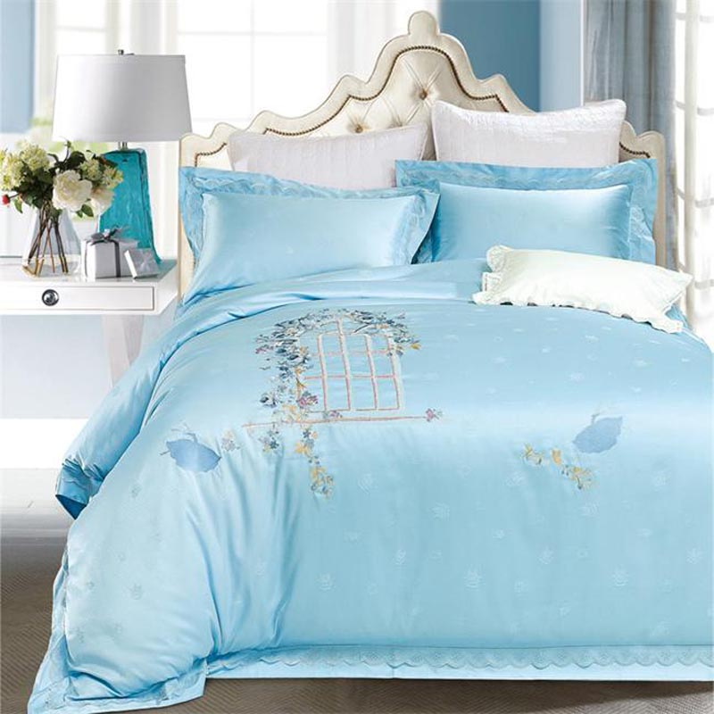 Luxury Jacquard and Embroidery Lacework Bedding Set Queen King Size Solid Color Blue Pink Red Gold Mint Green Cotton Bed Sheets