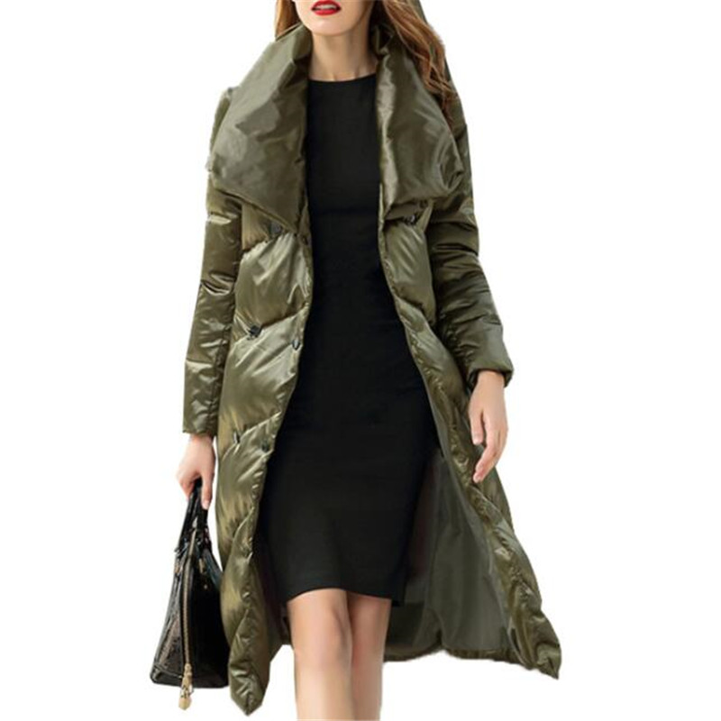 Turn Femmes wine Vestes Grey 2019 Manteau Neploe New 68571 Double Slim Red Long Green Vintage Col Solide blackish Black down silver D'hiver Hiver Breasted YwY4ft