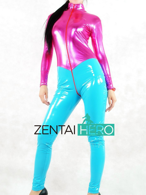 Free Shipping DHL Custom Made Adult Sexy Full Body Fuchsia and Blue PVC Zentai Catsuit Metallic Zentai Suit No Hood AXM127