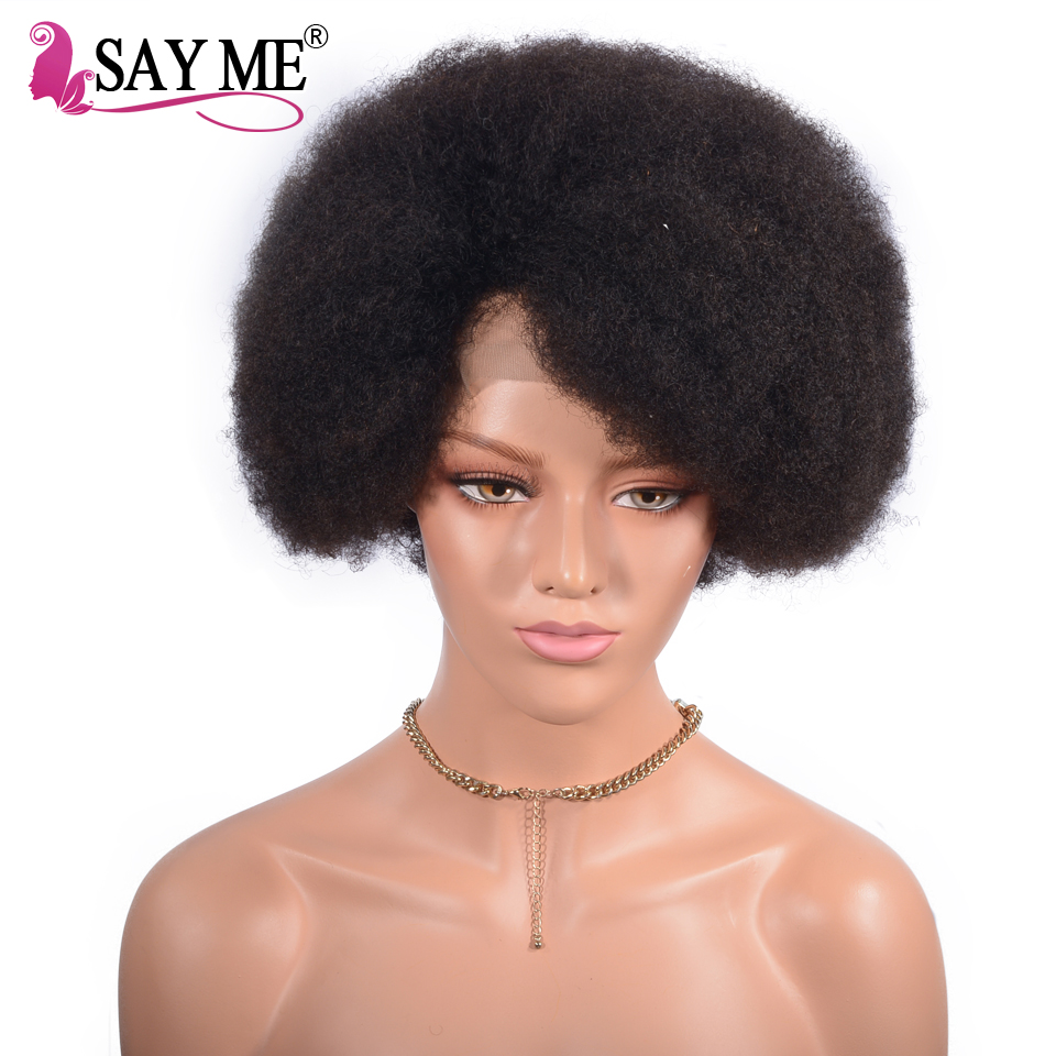 Afro Kinky Curly 13 4 Lace Front Human Hair Wigs Pre Plucked Short Bob Mongolian Human
