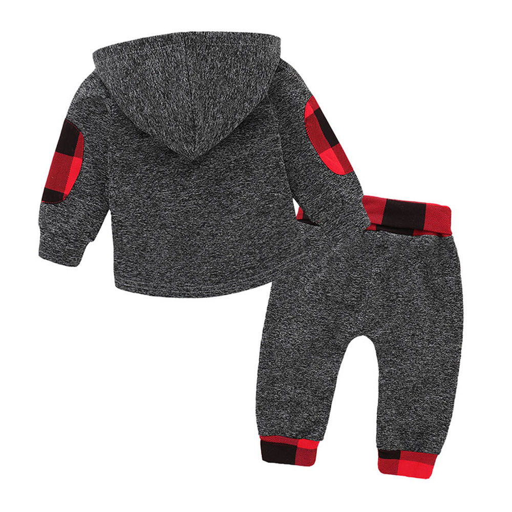 caa83f3720de7 2018 Spring Autumn Fashion Baby Girl Boy Hoodies Toddler Plaid Hooded Tops  Long Pants Outfits Set ...