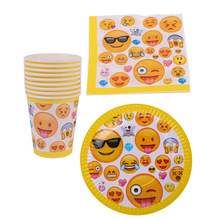 60pcs/lot Baby Shower Girls Favors Napkins Decoration Emoji Theme Tableware Set Happy Birthday Party Cups Plates Events Supplies