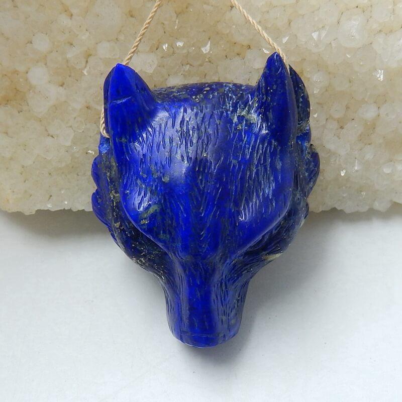 Perle de bijoux à bricoler soi-même Animal sculpté Lapis Lazuli naturel de haute qualité 42x37x18mm 37.2g tête de loup à la main à la mode pour ses meilleurs cadeaux
