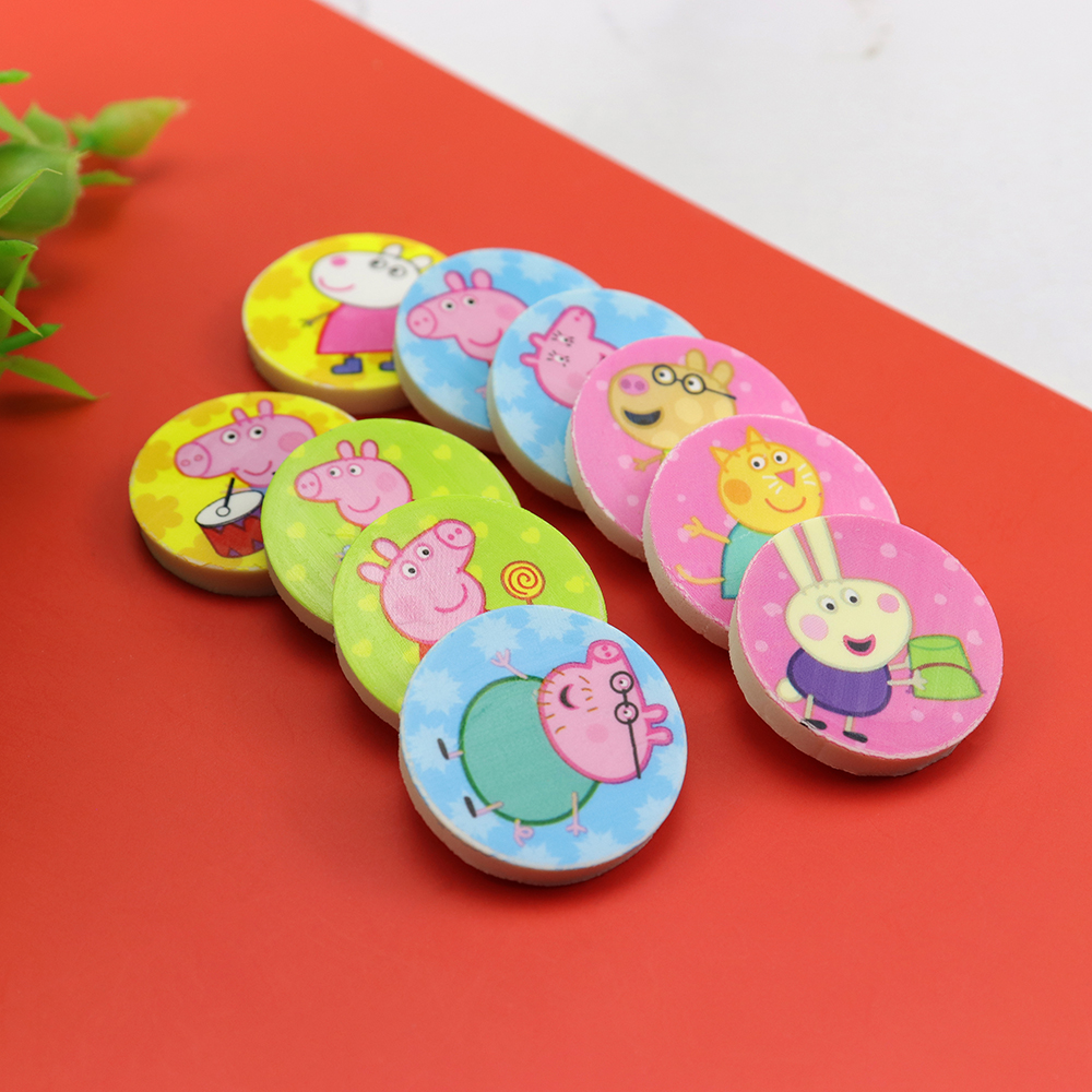 4pcs/pack Creative Cartoon Small Pig Rubber Toys For Kids Mini Cute Student Stationery Eraser Erase Pencil Mark