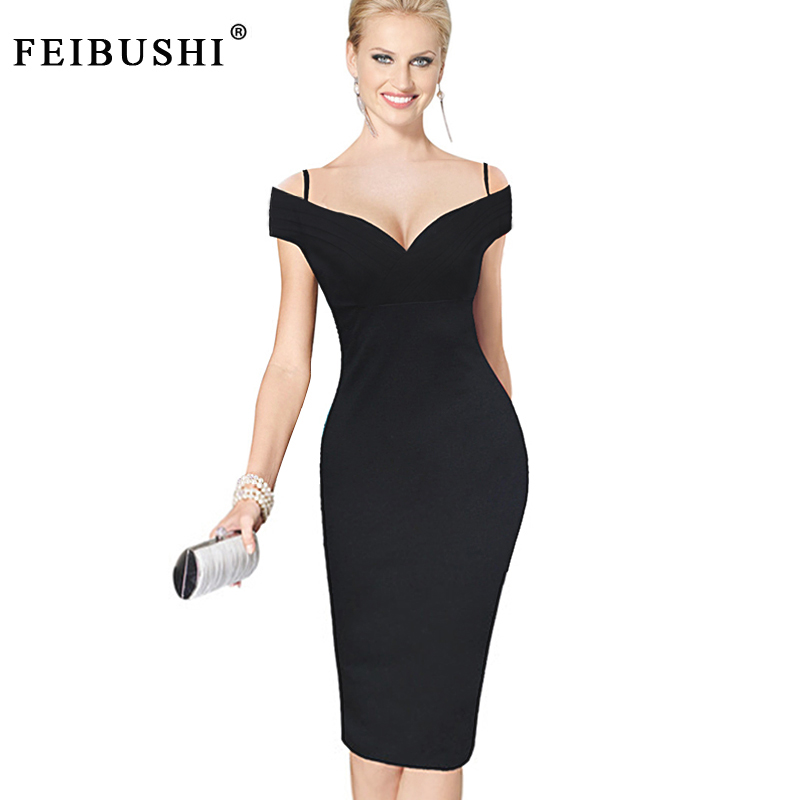 9ae581c4afc FEIBUSHI Womens Sexy Elegant Solid Black Stylish Casual Work Strap V Neck  Bodycon Knee Pencil Midi Dress