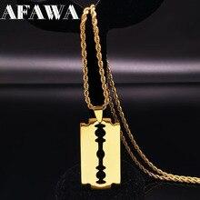 Moda lâmina de aço inoxidável colares cor do ouro longo colar jóias para mulher ou homem colares largos de moda n423s01