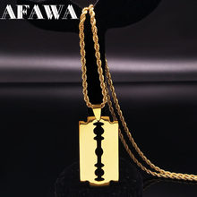 Colliers longs lames en acier inoxydable, bijoux pour femmes ou hommes, couleur dorée, N423S01