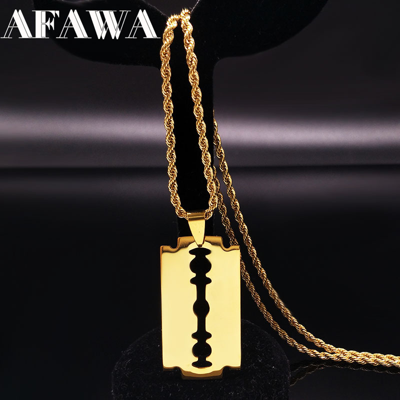 2019 Fashion Stainless Steel Blade Necklaces Gold Color Long Necklace Jewellery For Women or Men collares largos de moda N3309