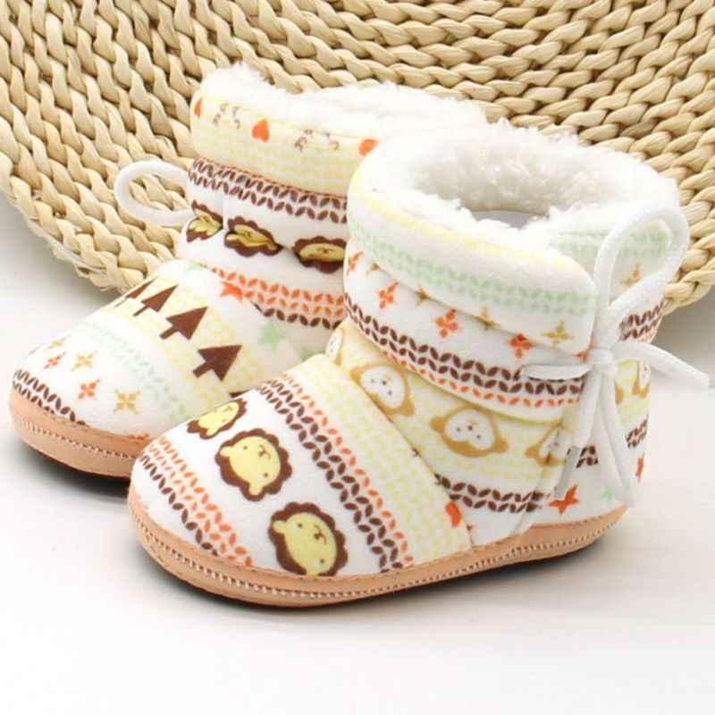 เด็กทารกแรกเกิดเด็กสาวเด็กแรกวอล์กเกอร์รองเท้าทารกไร้เดียงสาอ่อนนุ่มเปลด้านล่างลายรองเท้า