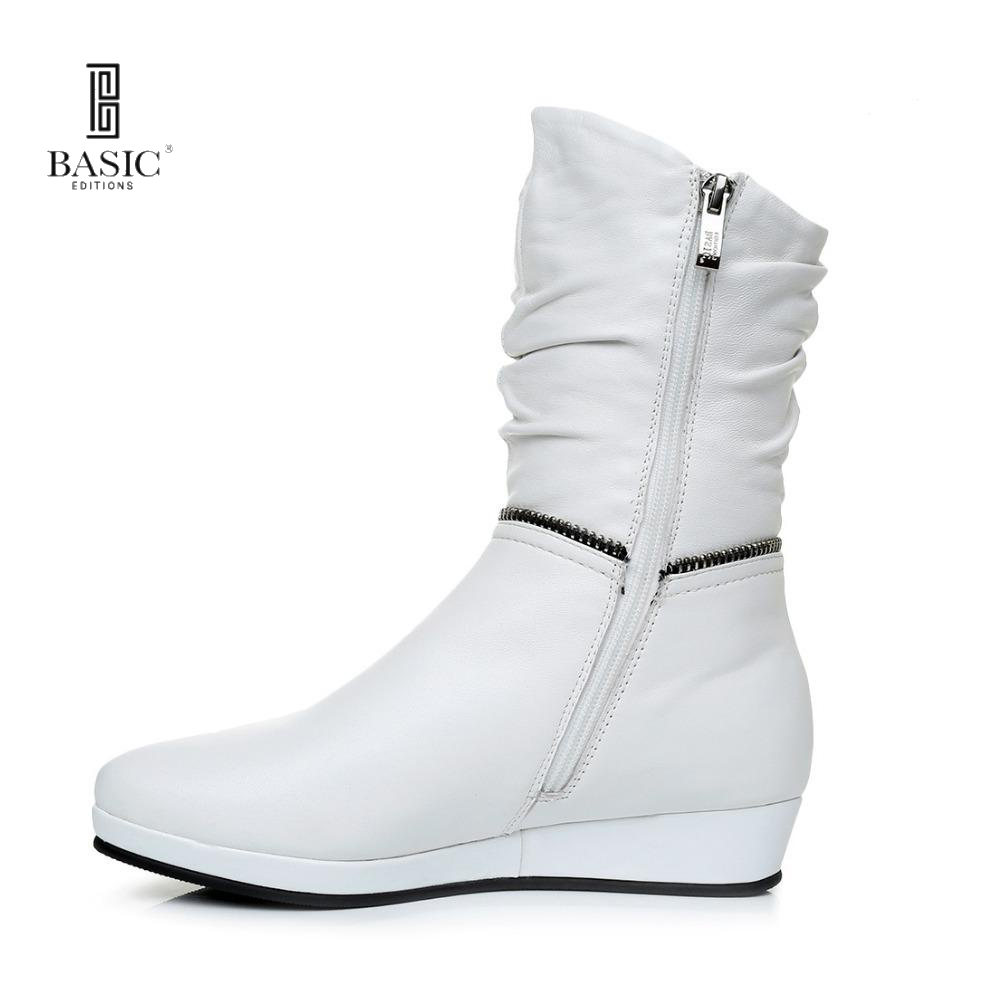 BASIC EDITIONS Women Genuine Leather Zipper  Autumn Winter Mid Calf Boots 1108-857M туфли basic editions туфли