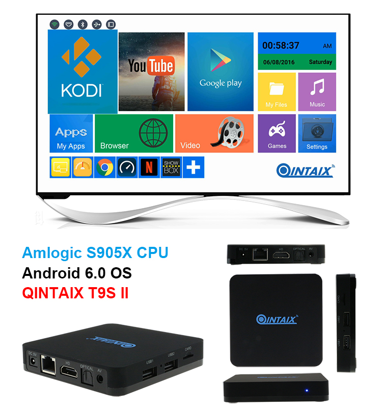 Amlogic S905X TV Box Android 6.0 Max 1G/8G Quad Core 2.4G WIFI KODI IPTV Smart TV Box Android Media Player 5pcs android tv box tvip 410 412 box amlogic quad core 4gb android linux dual os smart tv box support h 265 airplay dlna 250 254