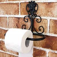 1PC Vintage Toilet Paper Towel Iron Roll Holder Bathroom Wall Mount Rack Black