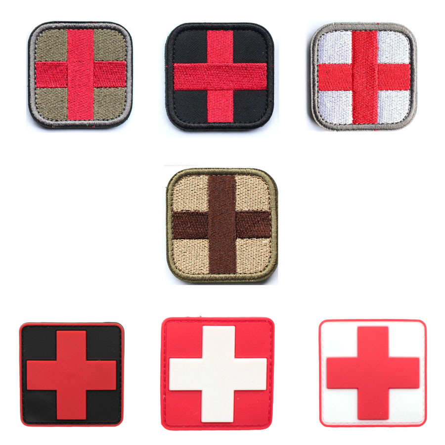 Medical Rode Kruis Patch stickers Prachtig Geborduurde militaire patches PVC Rubber Badges Applicaties patch militar voor kleding