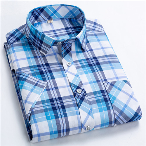 Checkered shirts for men Summer short sleeved leisure slim fit Plaid Shirt square collar soft causal male tops with front pocket 7