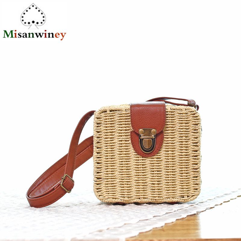 2018 Summer Retro Small Box Women Bags Candy Color Lady Messenger Bags Woven Seaside Beach Bag Casual Female Rattan Shoulder Bag free shipping candy color women garden shoes breathable women beach shoes hsa21