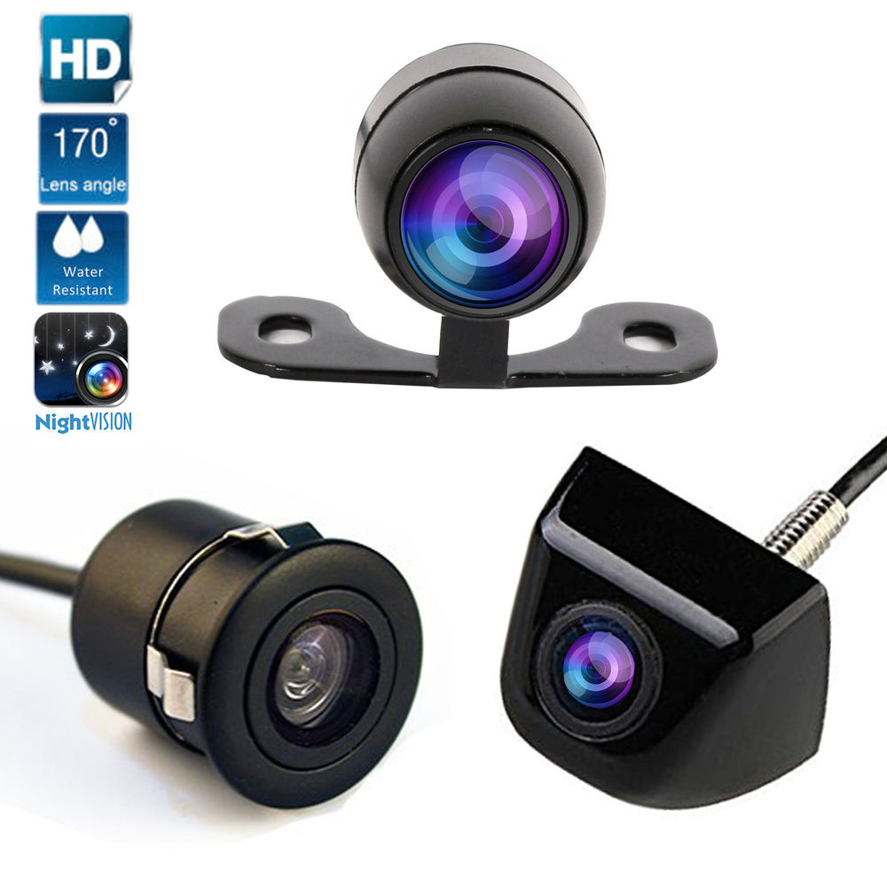 Cámara de vehículo cámara de visión trasera Monitor de aparcamiento 170 grados cámara universal de visión nocturna HD CCD frontal
