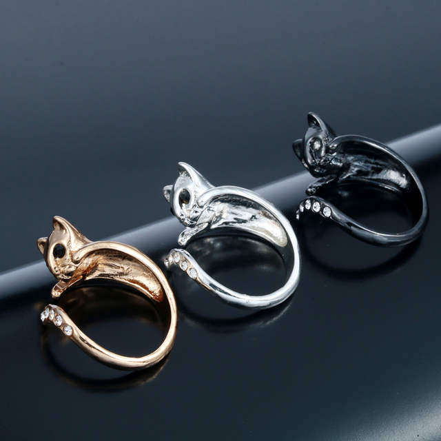 dd598dfe2 Kinitial 1Pcs Cute Austrian Crystal Eyes Cat Ring 3D Vintage Animal Rings  for Women Boho Chic Knuckle Jewelry Adjustable Anel-in Rings from Jewelry  ...