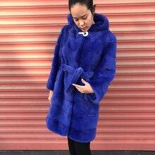 Winter women luxury natural mink fur coat with hood / real mink fur outerwear jacket with belt