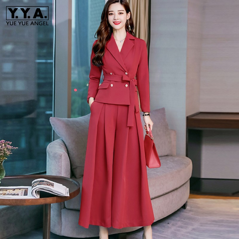 Two Piece Pants Set Women 2019 Spring Elegant Wide Leg Pants Double Breasted Blazer Jackets 2 Piece Set Women Suit Outfits S 2XL