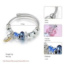 New Lovely Elephant Beads Crystal Charms Bracelet For Women