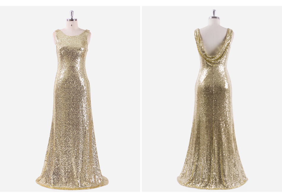 Gold Sequin Sleeveless Long Bridesmaid Dress