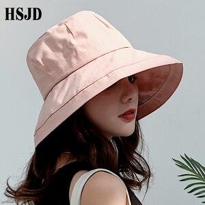 Image 4 - 2019 yeni fransız bez geniş ağız güneş balıkçı şapka yaz kadın şapka açık seyahat katlanabilir katı kova şapka Anti UV plaj şapkası