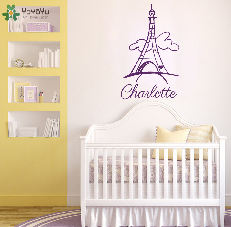 Eiffel tower personalized name wall stickers for kids - Childrens bedroom wall stickers removable ...