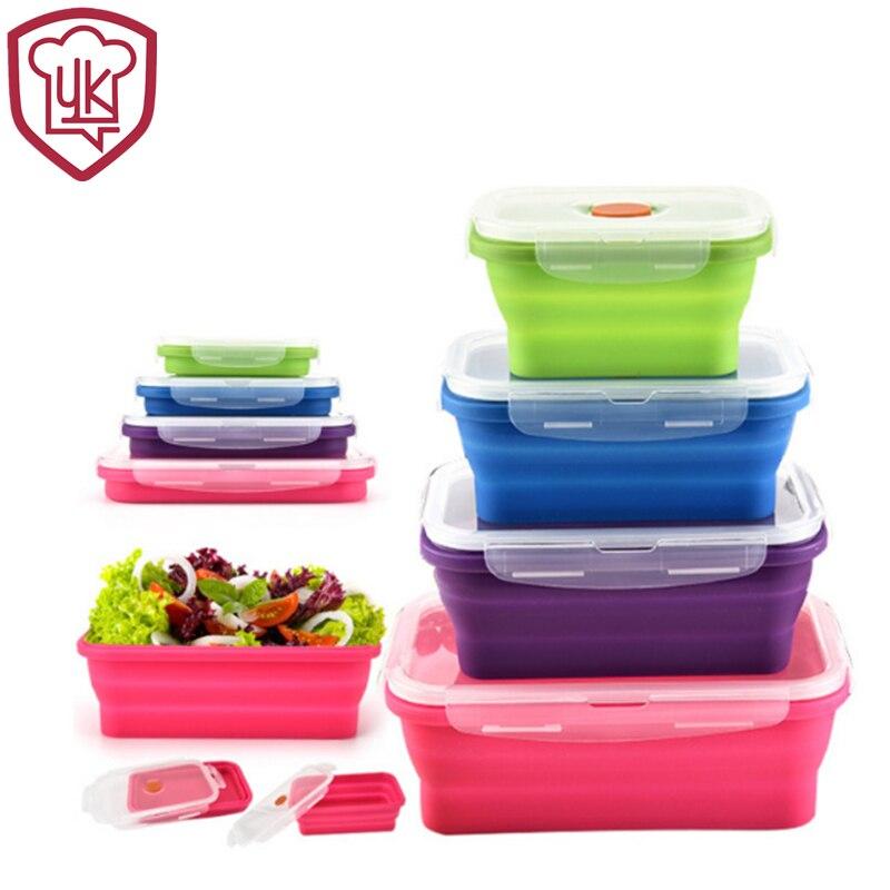Silicone Pliable Bento Lunch Box Silicone Food Boîte De Rangement Conteneurs Garder frais Micro-ondes Lave-Vaisselle