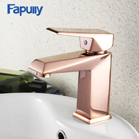 Fapully Bathroom Mini Stylish Elegant Basin Faucet Single Handle Rose Gold Sink Faucets Mixer Tap Square