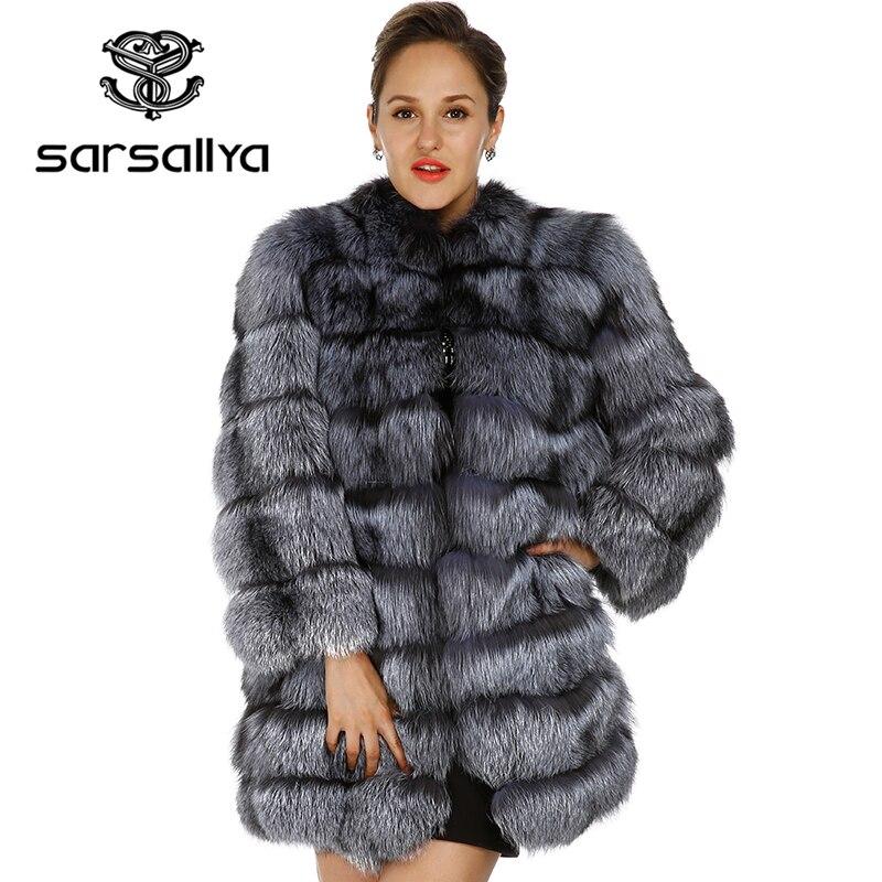 SARSALLYA 2016 новый реальный лисий мех пальто норки пальто женщин зимняя куртка женщин Бесплатная доставка натуральный мех пальто