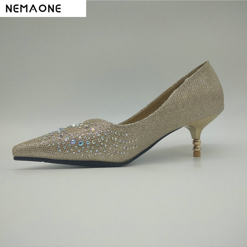 NEMAONE women high heels wedding shoes lady crystal platforms black red Glitter rhinestone bridal shoes thin heel party pumps shoes women high heels sexy wedges platforms glitter diamond shoes wedding shoes rhinestone heels party shoes pumps