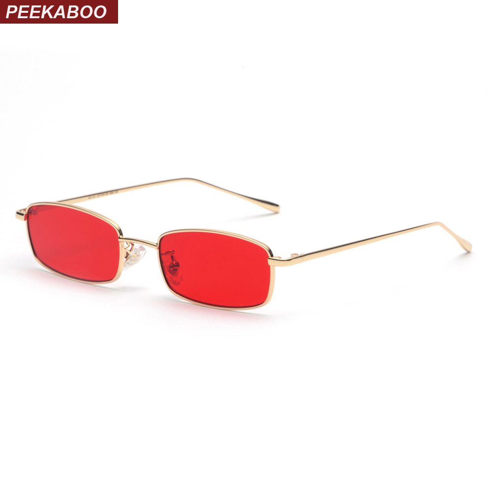 Peekaboo small rectangle sunglasses men red lens yellow 2018 metal frame clear lens sun glasses for women unisex uv400