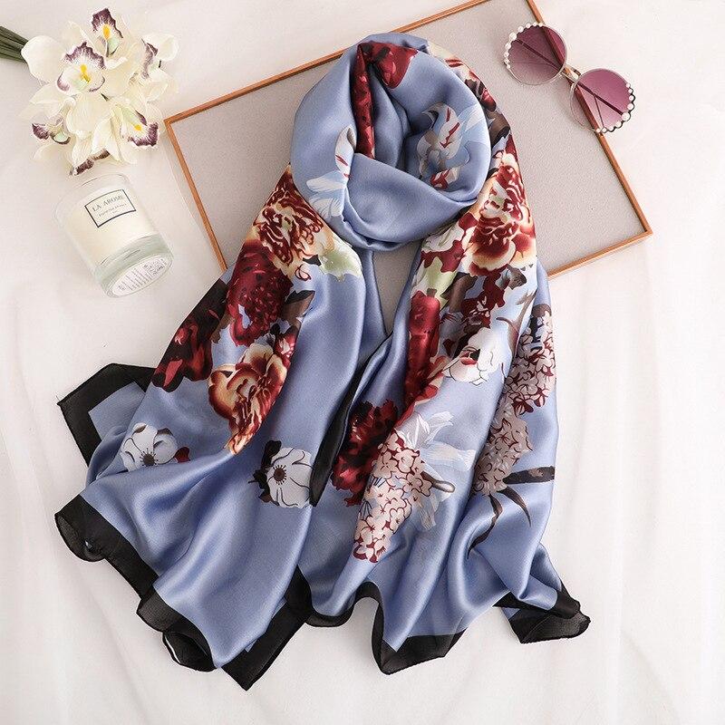 Silk Scarves Shawls Wraps Foulard Pashmina Stoles Spring Long-Size Summer Luxury Brand