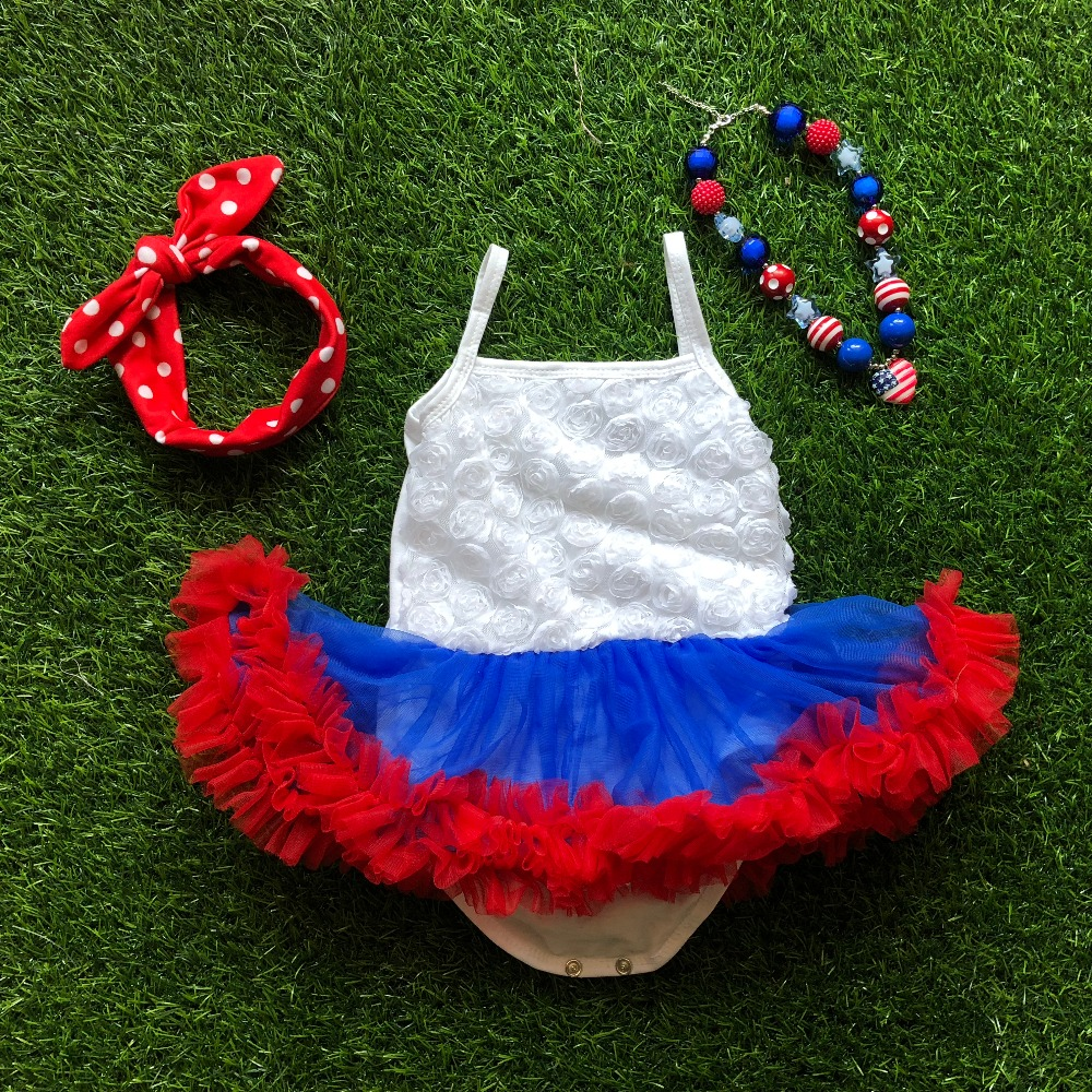 2018 hot sale july 4th baby romper tutu dress party dress birthday dress with necklace and headband 4th of july girl outfits