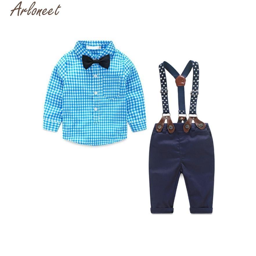 ARLONEET 2017 Kids Sets Newborn Baby Clothes Gentleman Long Sleeve Grid Shirt Suspender Bowknot P30 Dec05