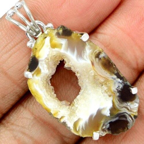 Mano hacer Genuino Geode Druzy Colgante 100% de Plata de ley 925 42 MM 8G KP0357