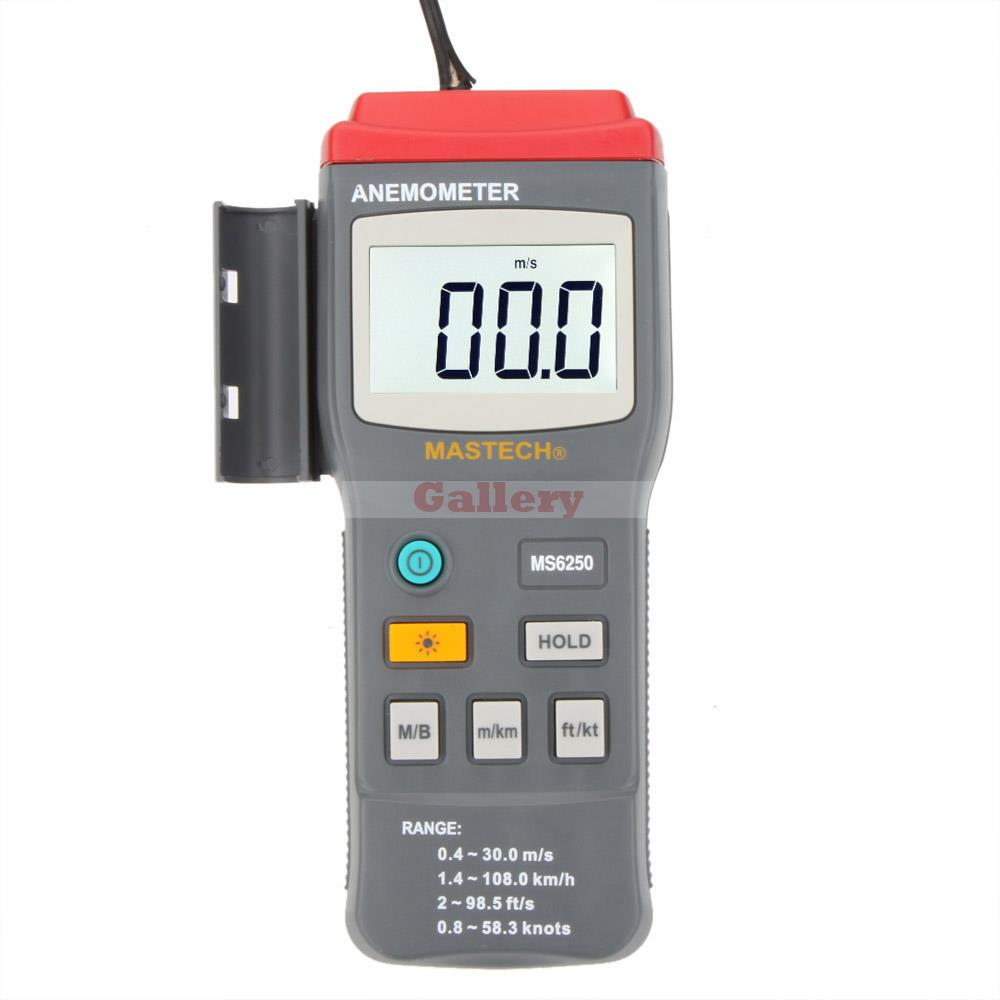 Mastech Ms6250 Digital Anemometer Air Velocity Wind Speed Meter Gauge Tester W Lcd Backlight Tester Wind Speed free shipping gm8901 45m s 88mph lcd digital hand held wind speed gauge meter measure anemometer thermometer