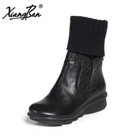 Xiangban 2018 Autumn Winter Women Boots Warm Knitting Black Chelsea Boots Women Genuine Leather Wedges Shoes