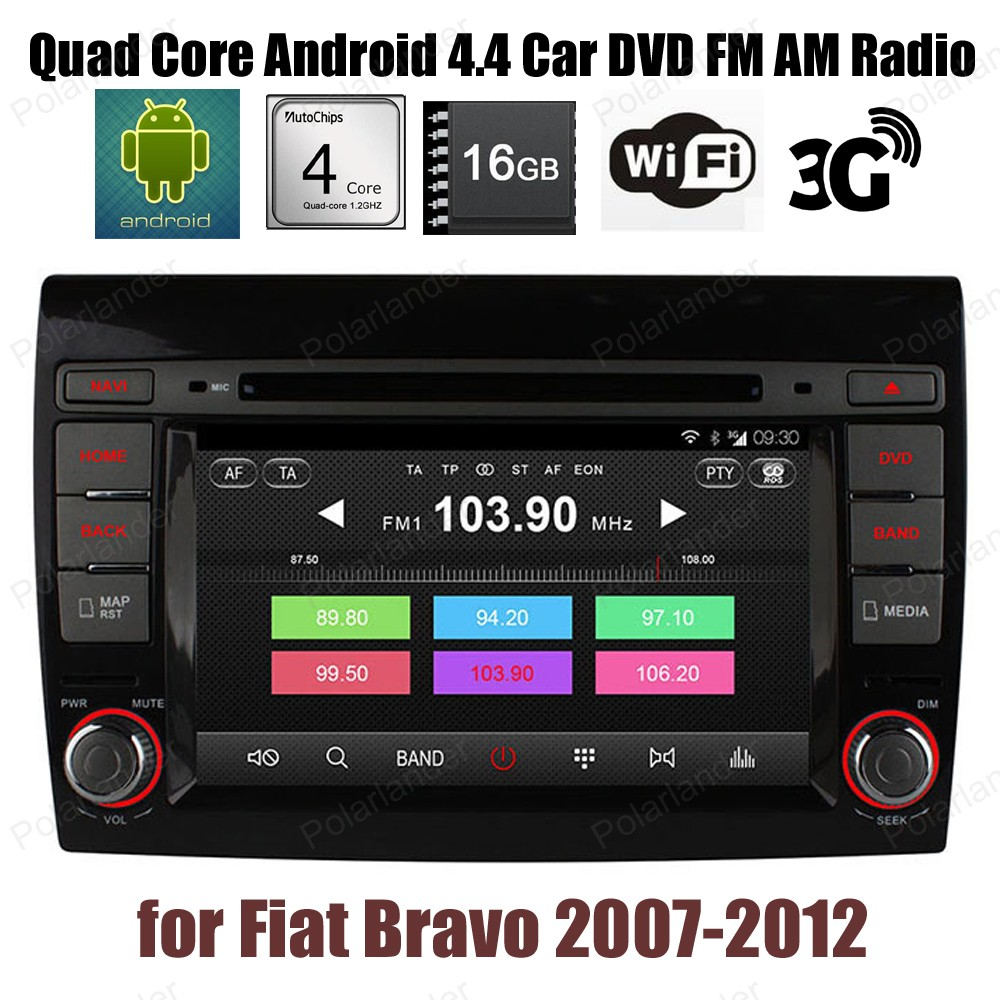 Pour F/iat B/ravo 2007-2012 Android4.4 Quad Core voiture DVD CD radio Support stéréo DTV DVR GPS BT 3G WiFi DAB + TPMS 16G ROM