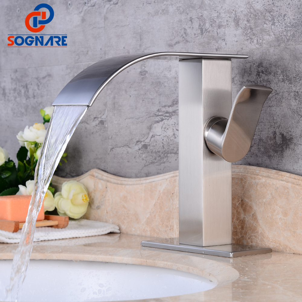contemporary bathroom basin sink faucet single holder single hole with brass hole cover plate chrome SOGNARE Waterfall Bathroom Basin Faucet Single Holder Single Hole with Sink Faucet Hole Cover Deck Plate Escutcheon Mixer Taps