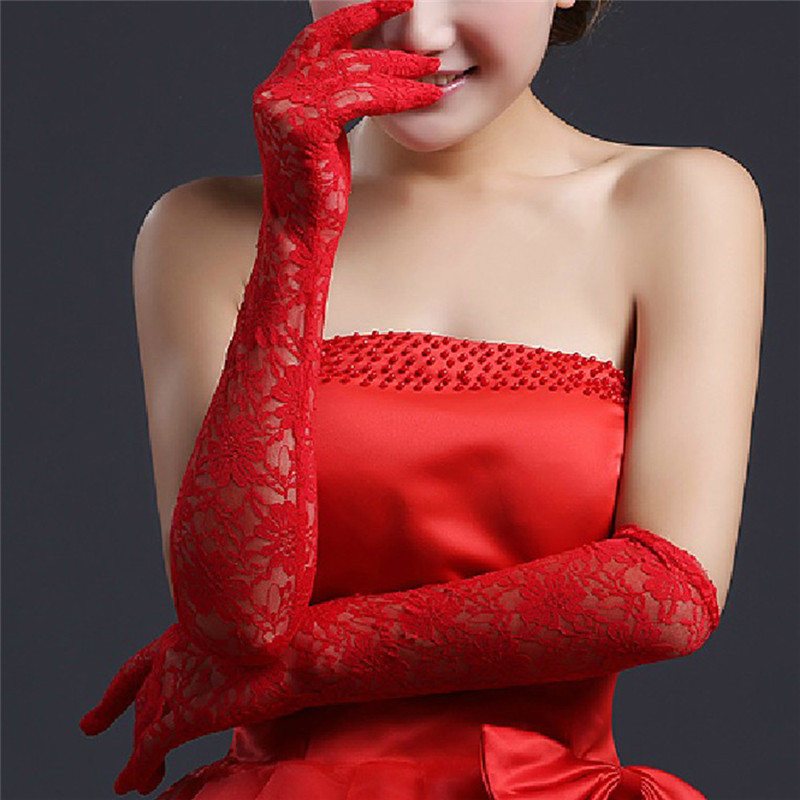 Bridal Gloves Discreet Romad White Lace Bridal Gloves Elbow Length Full Finger Wedding Gloves Red And White Luxury Wedding Accessories For Bride R4 Wedding Accessories