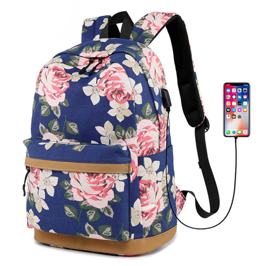 Women External USB Charge Backpack Canvas Backpack Female Mochila Escolar Girls Laptop Backpack School Bags Backpack For Teens