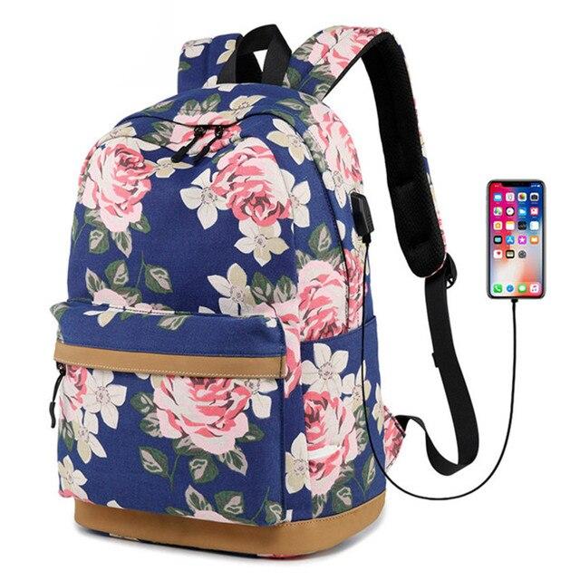 45fe744d18e Mujeres External USB carga Mochila de lona femenina Mochila Escolar niñas  escuela Mochila portátil Mochila para